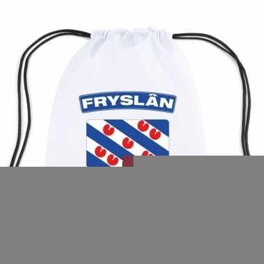 Friesland nylon rugzak wit met friese vlag