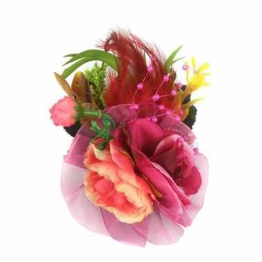 Fuchsia roze haarbloemen met clipspeld