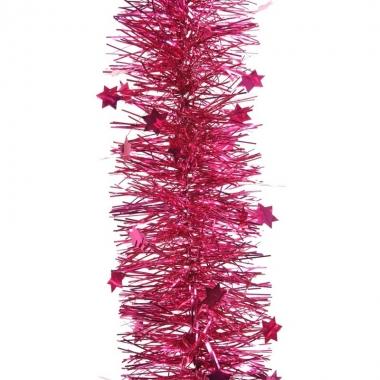 Fuchsia roze kerstversiering folie slinger met ster 270 cm