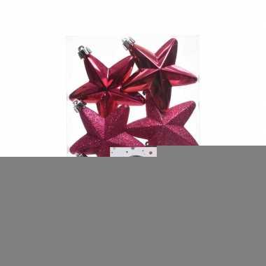 Fuchsia roze kerstversiering sterren kerstballen 7,5 cm