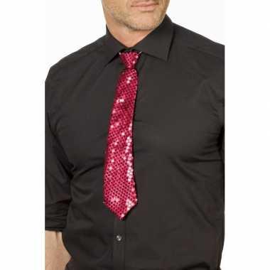 Fuchsia roze pride glitter stropdas 32 cm verkleedaccessoire