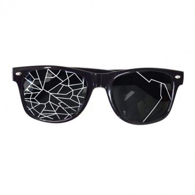 Fun bril zwart met kapotte glazen