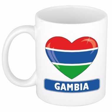 Gambiaanse vlag hartje theebeker 300 ml