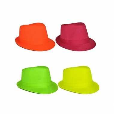 Gangster hoeden in neon kleur