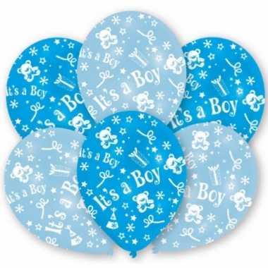 Geboorte jongen ballonnen 6 stuks
