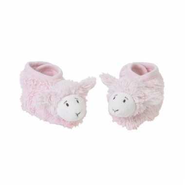 Geboorte kado roze lammetjes slofjes
