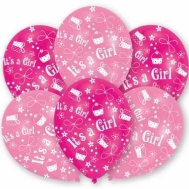 Geboorte meisje ballonnen 6 stuks