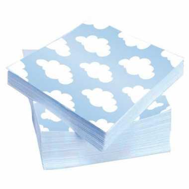Geboorte servetten blauw 20 stuks