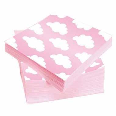 Geboorte servetten roze 20 stuks