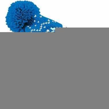 Gebreide blauwe nordic print muts met pompon voor meisjes