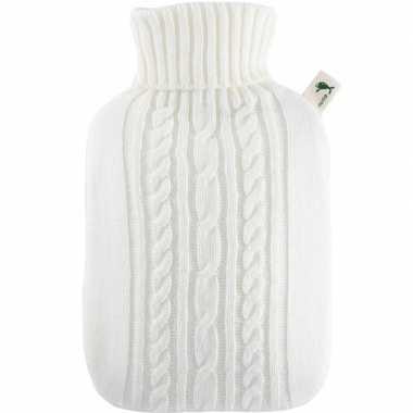 Gebreide kruik wit 1,8 liter met kabelpatroon