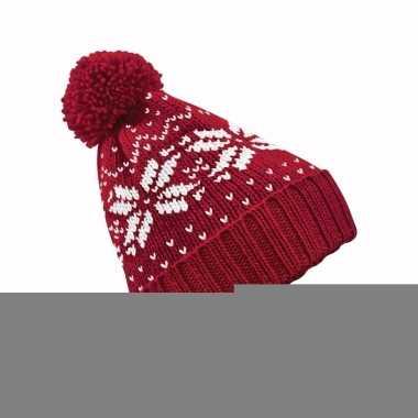 Gebreide rode nordic print muts met pompon voor jongens