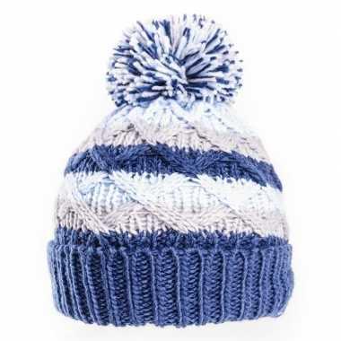 Gebreide winter muts blauw/grijs met pompon voor baby