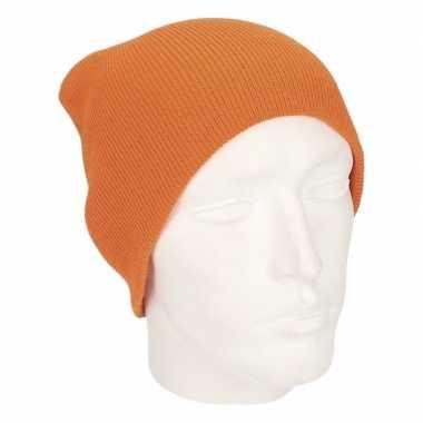 Gebreide wintermutsen oranje voor mannen