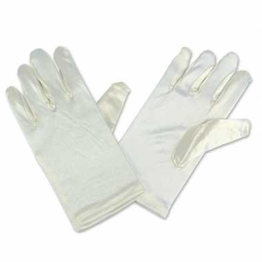 Gebroken witte satijnen gala handschoenen voor kinderen