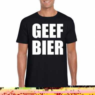 Geef bier heren t-shirt zwart