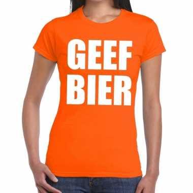 Geef bier tekst t-shirt oranje dames
