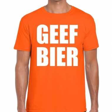 Geef bier tekst t-shirt oranje heren