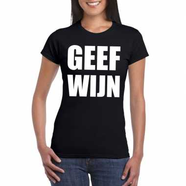 Geef wijn dames t-shirt zwart