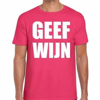 Geef wijn t-shirt roze heren