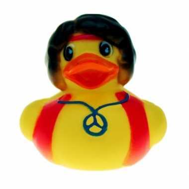Geel badeendje hippie man 5 cm