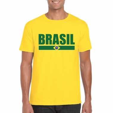Geel brazilie supporter t-shirt voor heren