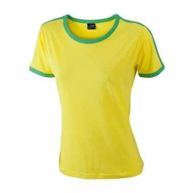 Geel dames t-shirt met groene contrast