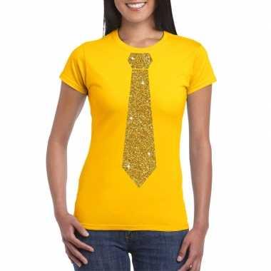 Geel fun t-shirt met stropdas in glitter goud dames