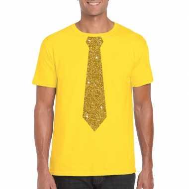 Geel fun t-shirt met stropdas in glitter goud heren