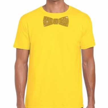 Geel fun t-shirt met vlinderdas in glitter goud heren