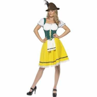 Geel/groen dirndl jurkje voor dames