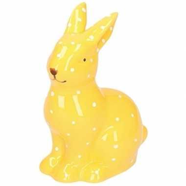 Geel haas/konijn dierenbeeldje 10 cm