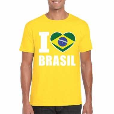 Geel i love brazilie fan shirt heren
