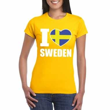 Geel i love zweden fan shirt dames