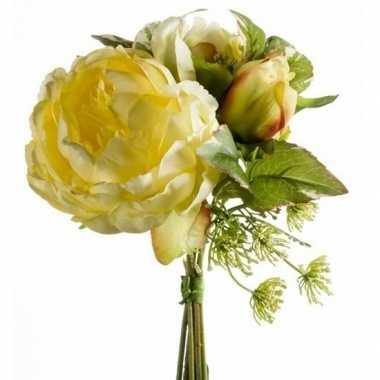 Geel kunstbloemen boeket 20 cm pioenroos/dille