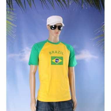 Geel met groen t-shirt met vlag van brazilie dames