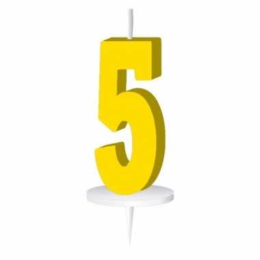 Geel nummer kaarsje cijfer 5