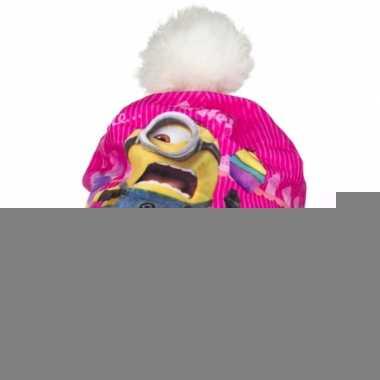 Geel/roze minion muts met fleece