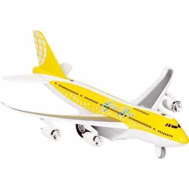 Geel speelgoed vliegtuig met licht en geluid voor kinderen