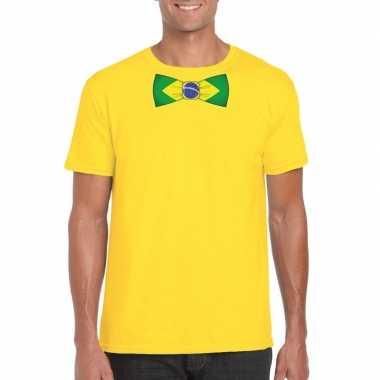 Geel t-shirt met brazilie vlag strikje heren