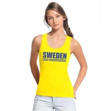 Geel zweden supporter singlet shirt/ tanktop dames