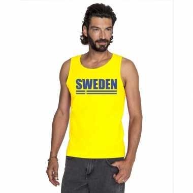 Geel zweden supporter singlet shirt/ tanktop heren