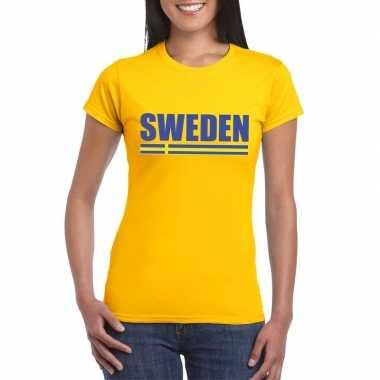 Geel zweden supporter t-shirt voor dames