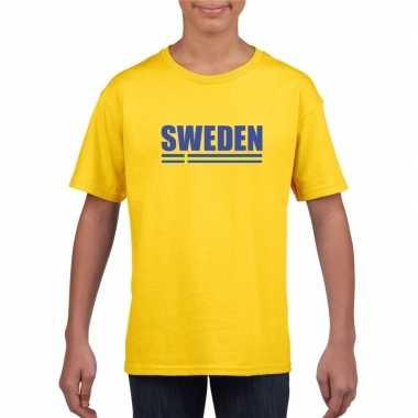 Geel zweden supporter t-shirt voor kinderen
