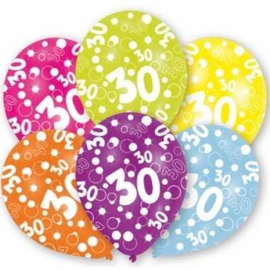 Gekleurde 30 jaar ballonnen 6 stuks