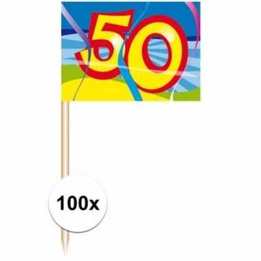 Gekleurde cocktail prikkers 50 jaar 100 stuks