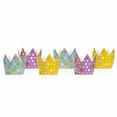 Gekleurde feest kroontjes 12 stuks