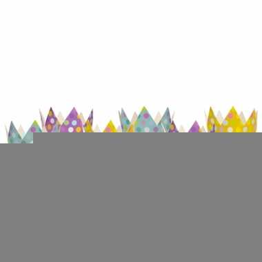 Gekleurde feest kroontjes 6 stuks