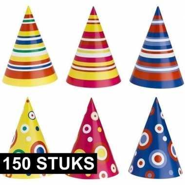 Gekleurde feesthoedjes 150 stuks
