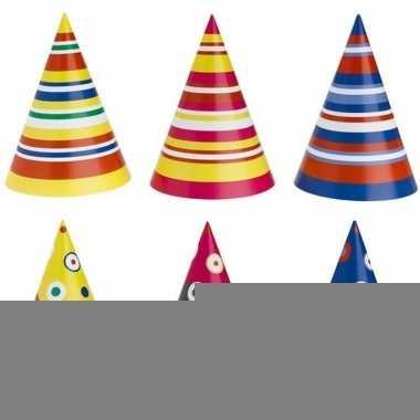 Gekleurde feesthoedjes 50 stuks